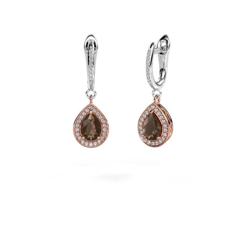 Pendants d'oreilles Ginger 2 585 or rose quartz fumé 7x5 mm