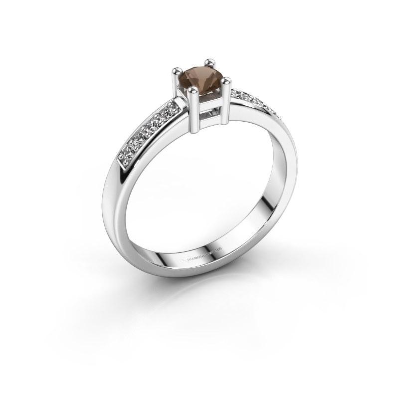 Engagement ring Eline 2 585 white gold smokey quartz 3.7 mm
