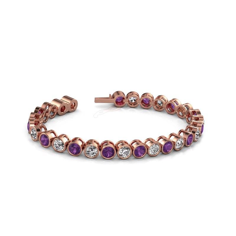 Tennis bracelet Allegra 5 mm 375 rose gold amethyst 5 mm