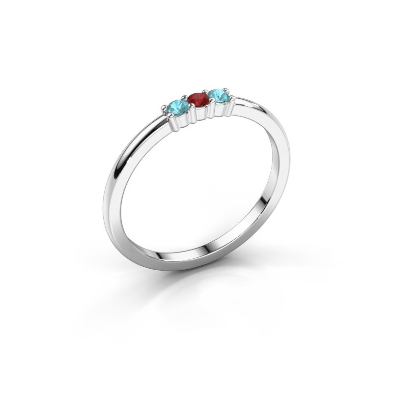 Engagement ring Yasmin 3 950 platinum ruby 2 mm