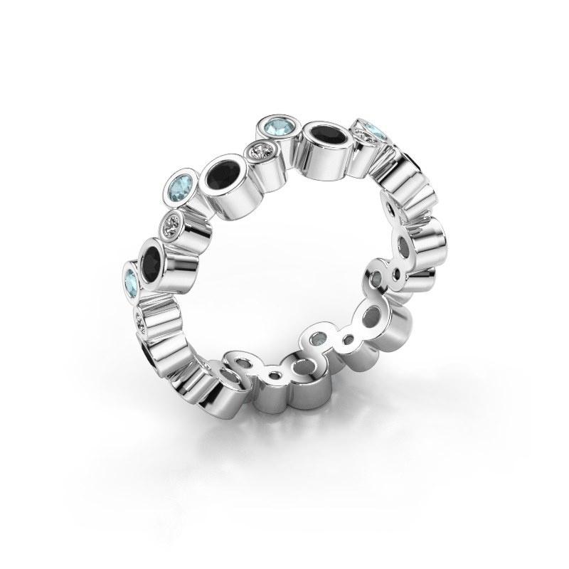 Ring Tessa 585 witgoud zwarte diamant 0.783 crt