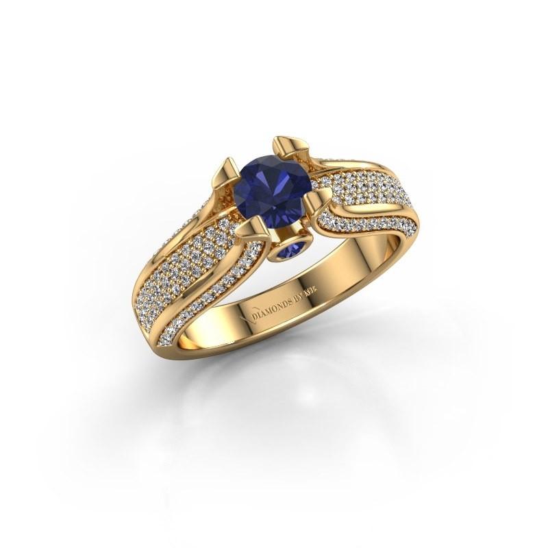 Verlovingsring Jeanne 2 375 goud saffier 5 mm