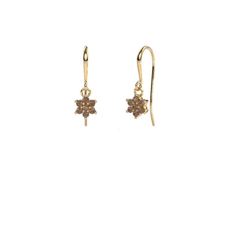 Drop earrings Dahlia 1 375 gold brown diamond 0.28 crt