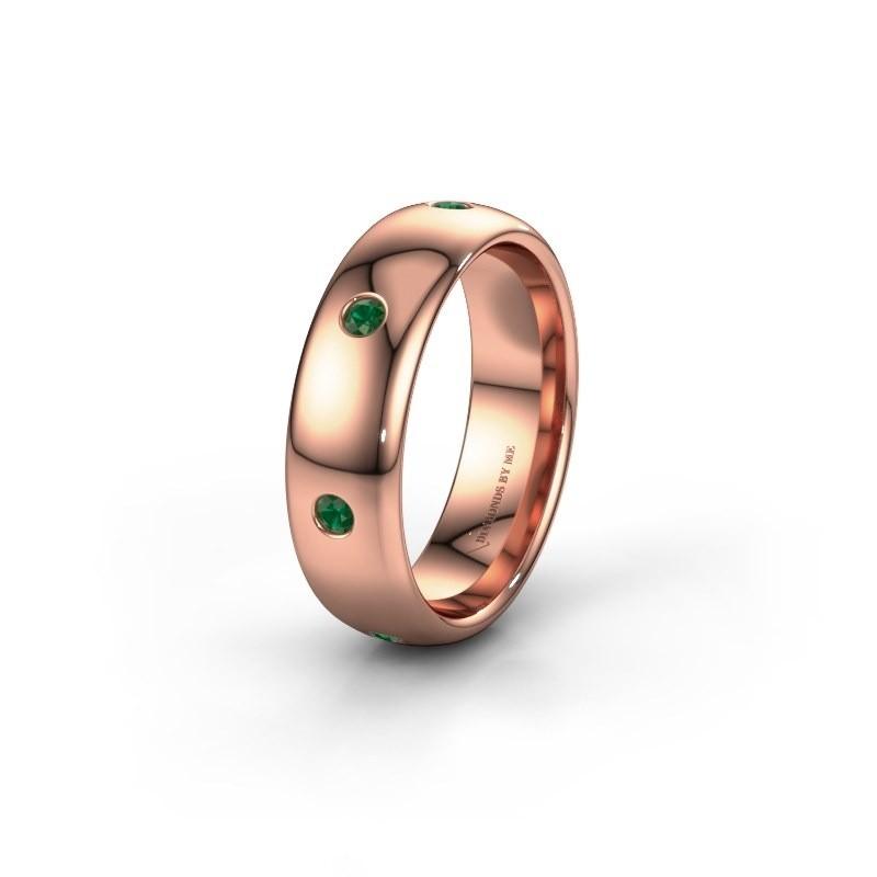Wedding ring WH0105L36BP 375 rose gold emerald ±6x2 mm