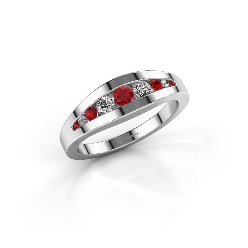 Ring Oneida 925 zilver robijn 3 mm