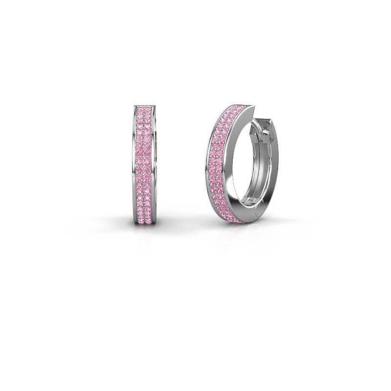 Creolen Renee 5 12 mm 950 platina roze saffier 1 mm
