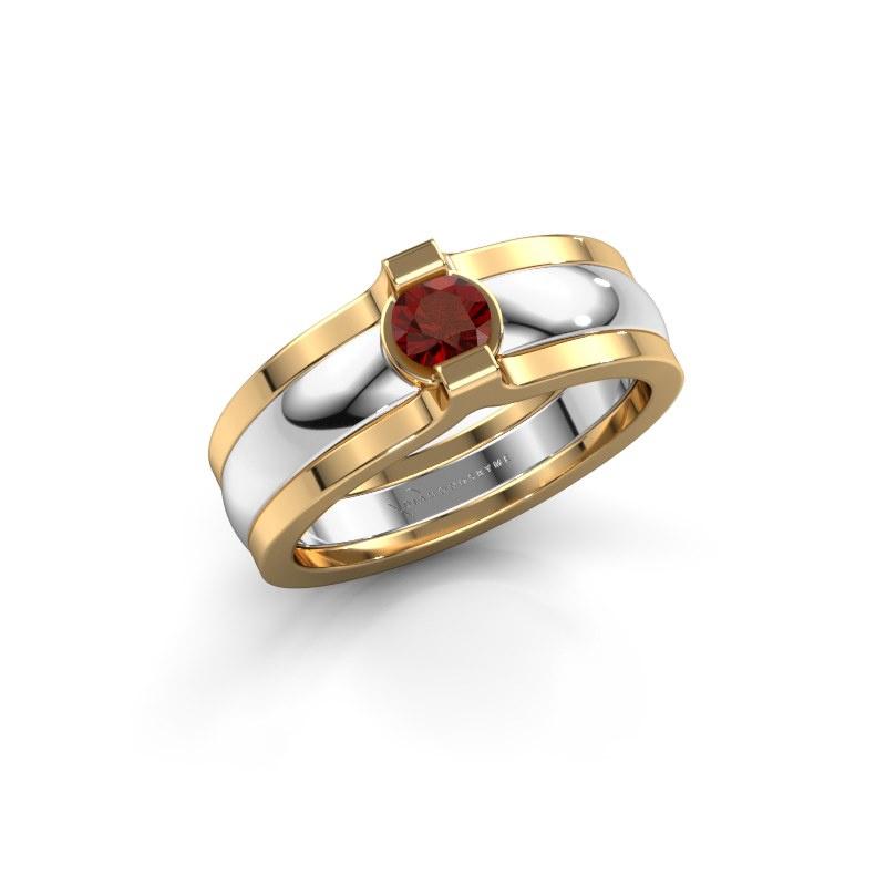 Ring Jade 585 white gold garnet 4 mm
