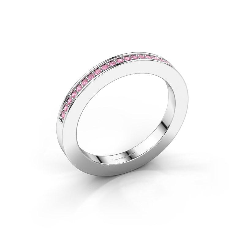 Aanschuifring Loes 2 925 zilver roze saffier 1.1 mm
