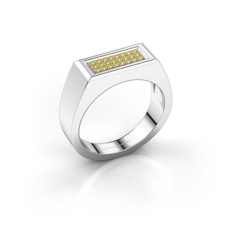 Men's ring Dree 6 950 platinum yellow sapphire 1.1 mm