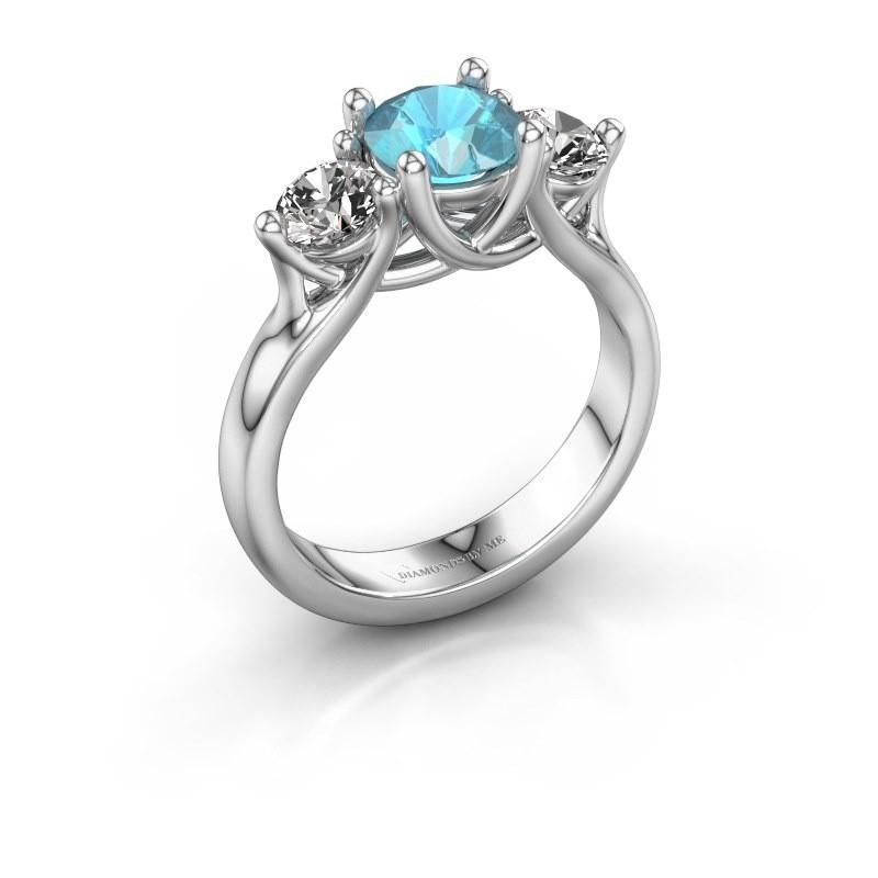 Verlovingsring Esila 585 witgoud blauw topaas 6.5 mm