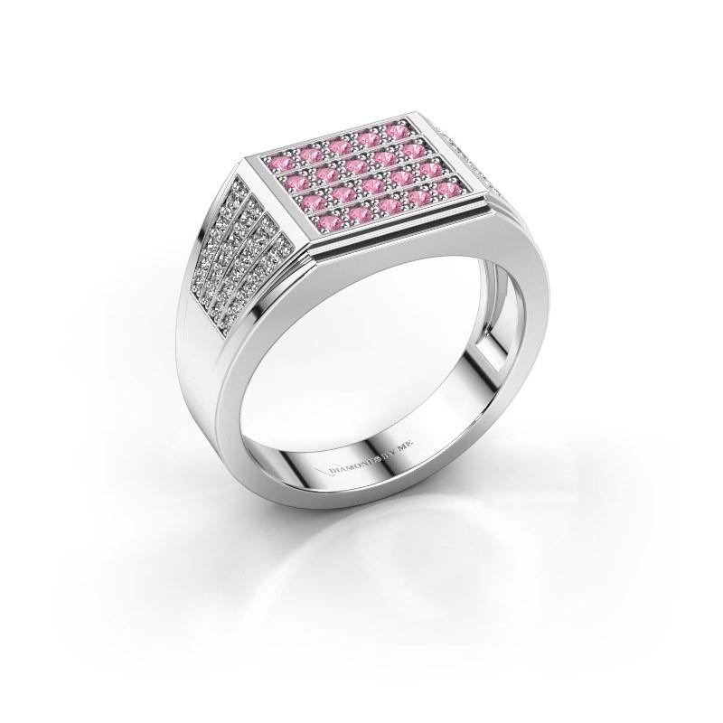 Men's ring Tim 585 white gold pink sapphire 1.5 mm