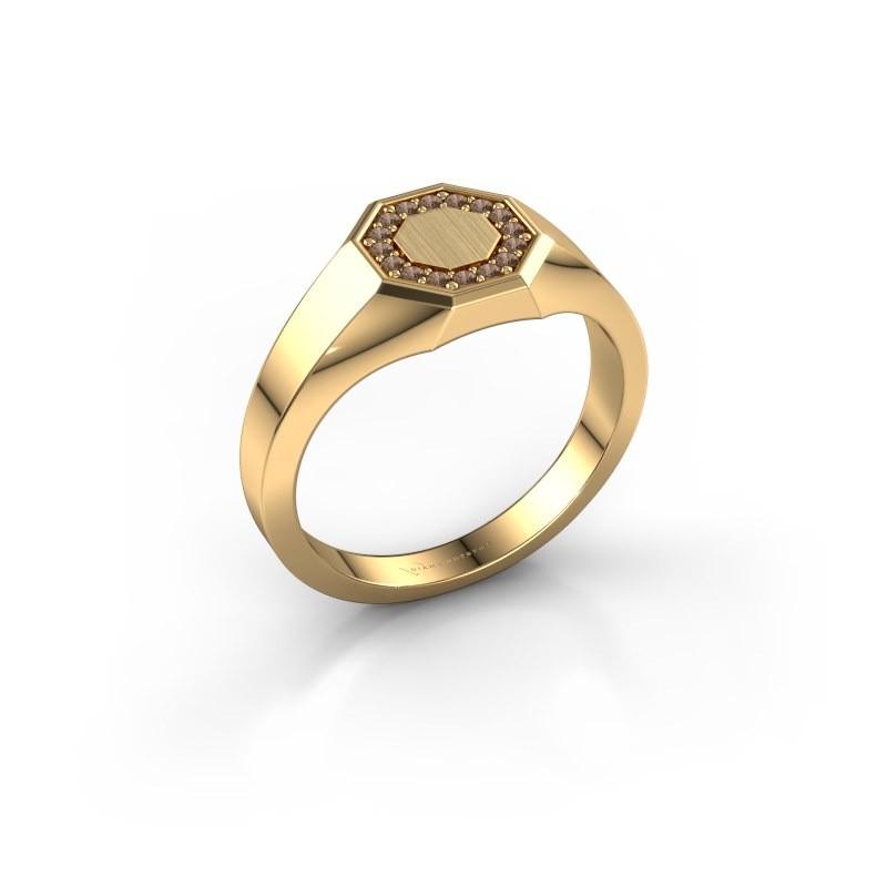 Pinkring Floris Octa 1 585 goud bruine diamant 0.12 crt