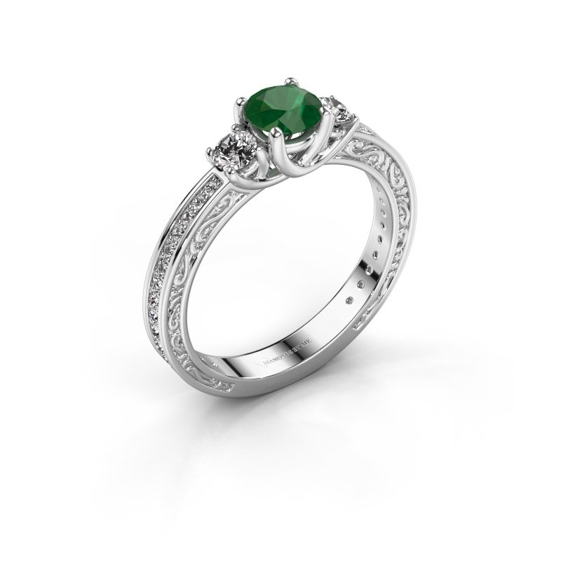 Verlovingsring Betty 2 585 witgoud smaragd 5 mm