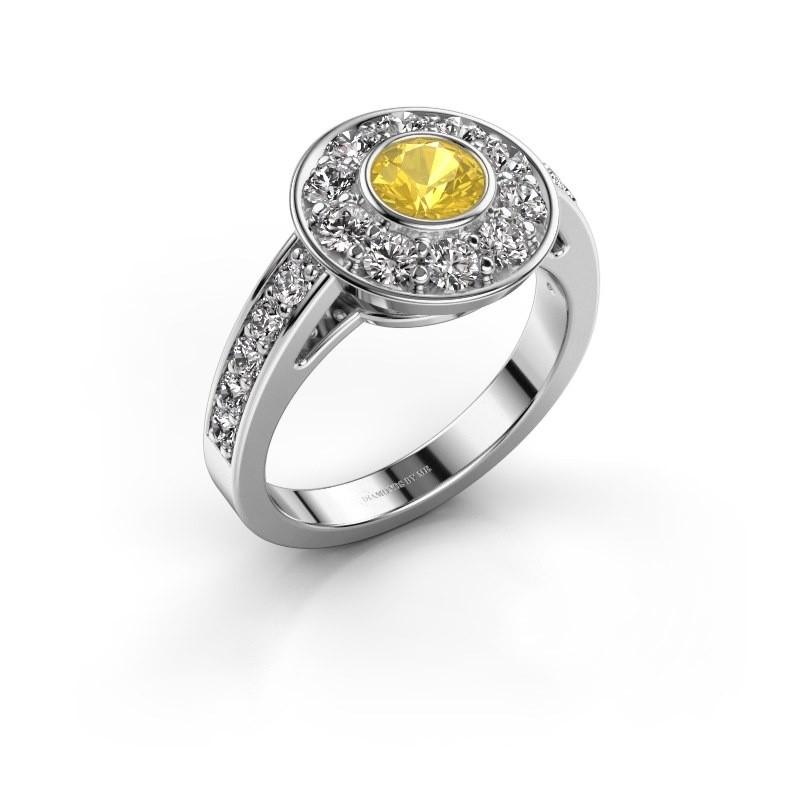 Verlovingsring Raven 2 925 zilver gele saffier 5 mm