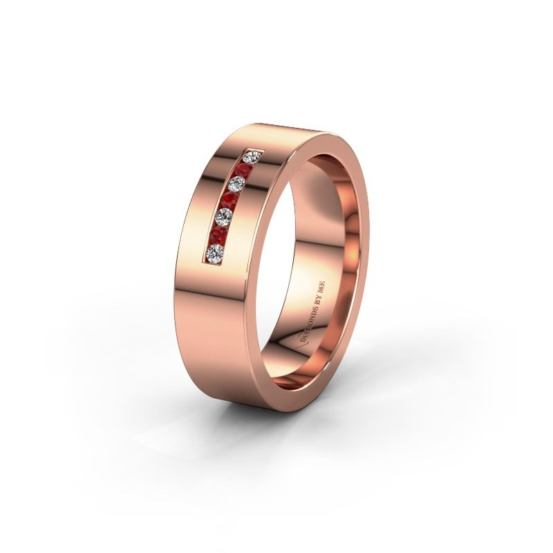 Wedding ring WH0108L16BP 375 rose gold ruby ±6x2 mm