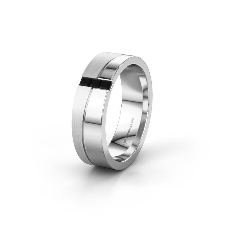 Wedding ring WH0906L16A 950 platinum black diamond ±0.24x0.07 in