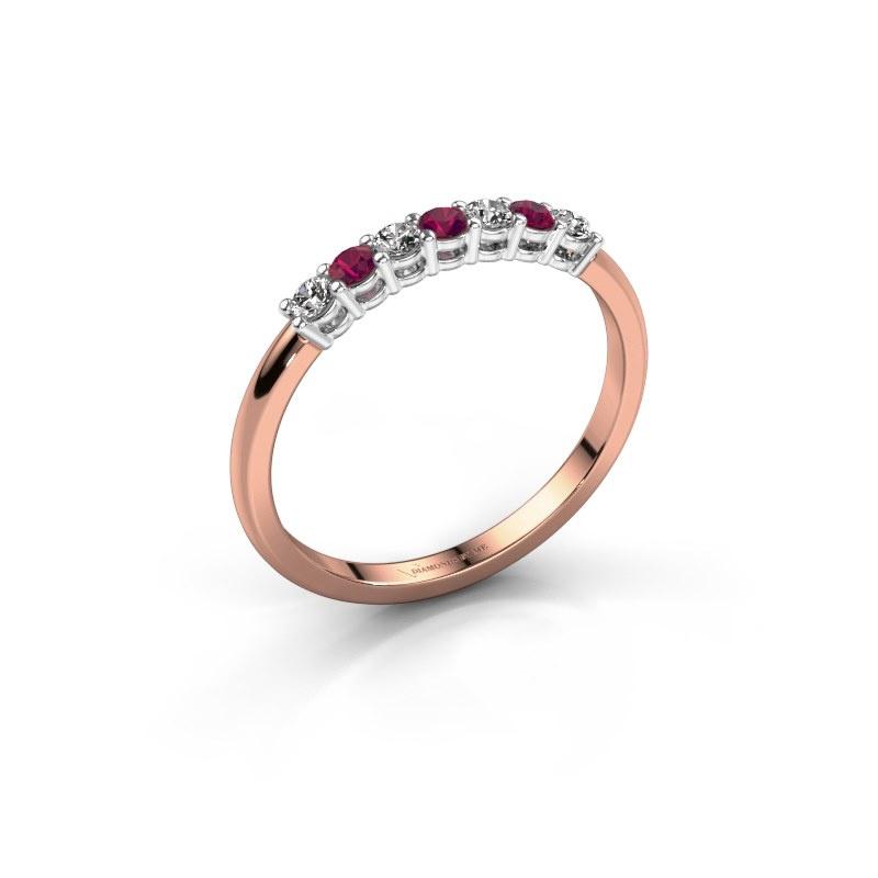Verlovings ring Michelle 7 585 rosé goud rhodoliet 2 mm