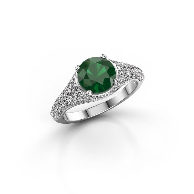 Verlovingsring Lovella 585 witgoud smaragd 7 mm