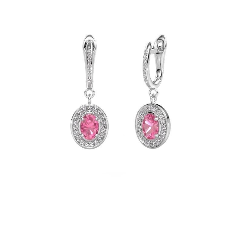 Oorhangers Layne 2 950 platina roze saffier 7x5 mm