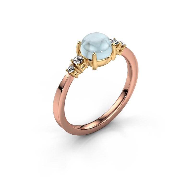 Ring Regine 585 rosé goud aquamarijn 6 mm