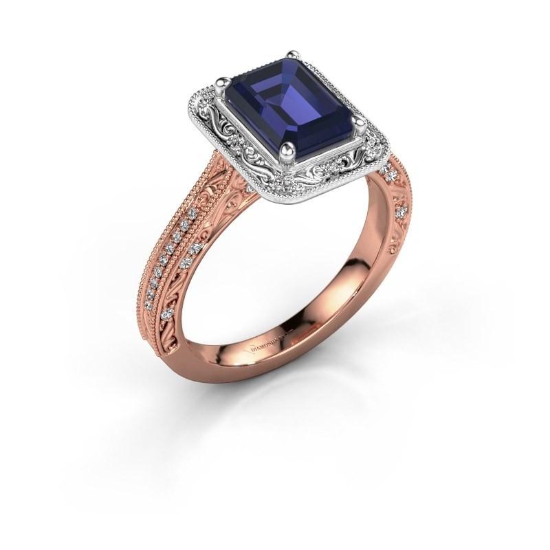Verlovings ring Alice EME 585 rosé goud saffier 7x5 mm