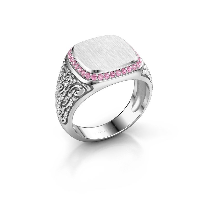 Heren ring Jesse 2 925 zilver roze saffier 1.2 mm