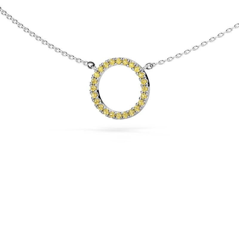 Pendentif Circle 585 or blanc saphir jaune 1.2 mm