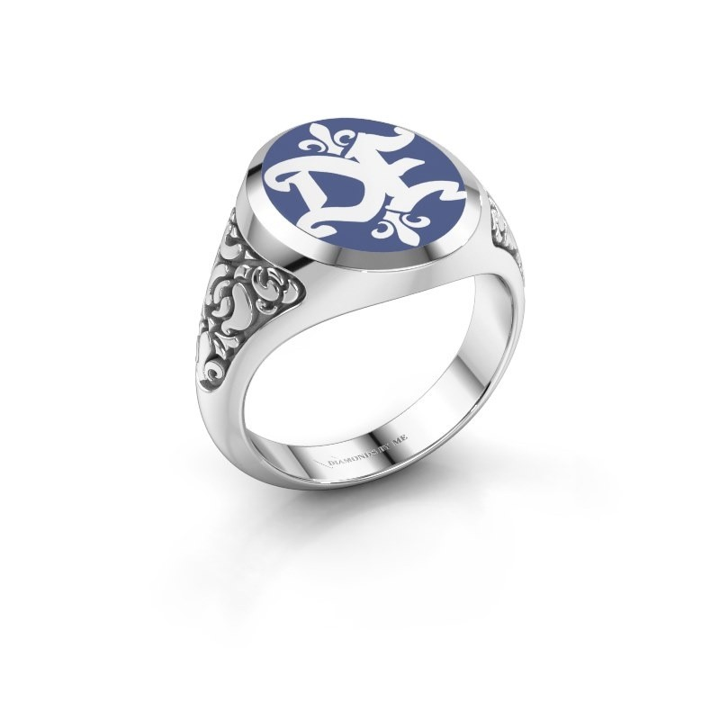 Monogram ring Brian Emaille 375 witgoud blauwe emaille