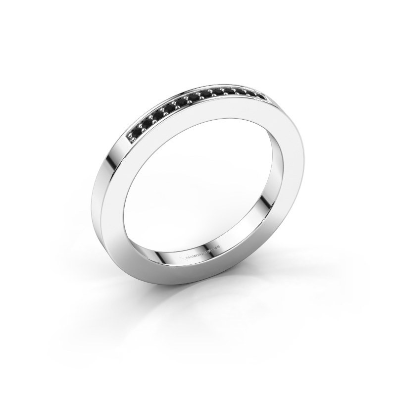 Stackable ring Loes 1 585 white gold black diamond 0.096 crt