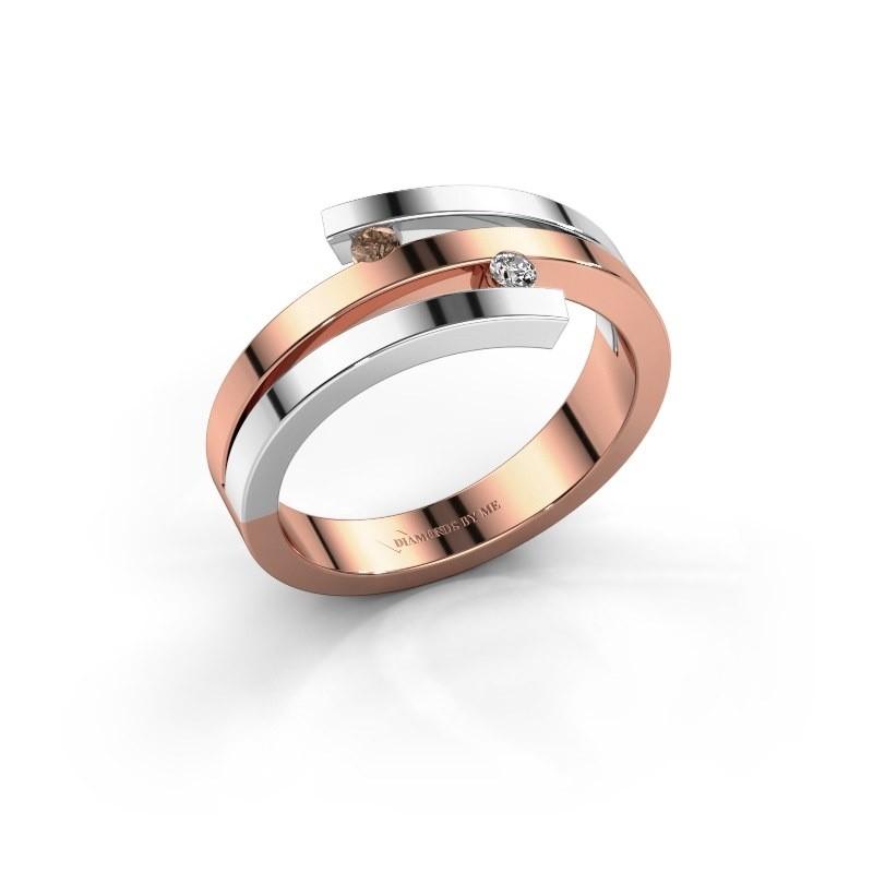 Ring Roxane 585 rosé goud bruine diamant 0.06 crt