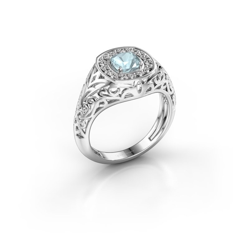 Men's ring Quinten 950 platinum aquamarine 5 mm
