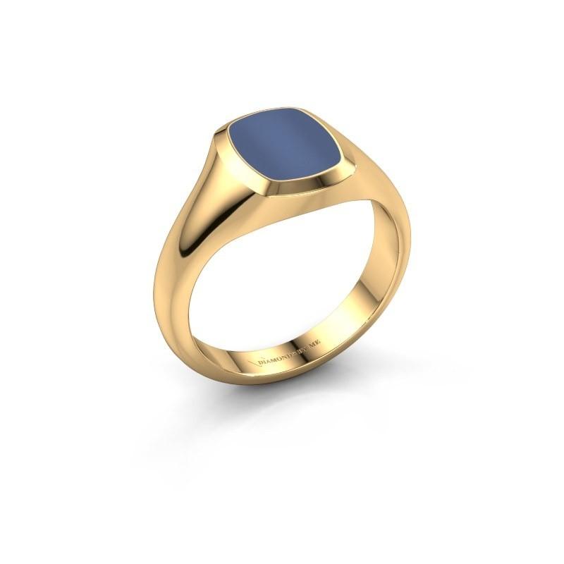 Pink ring Benjamin 1 585 goud blauw lagensteen 10x8 mm