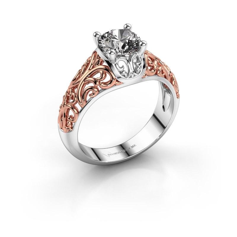 Ring Mirte 585 witgoud zirkonia 6.5 mm