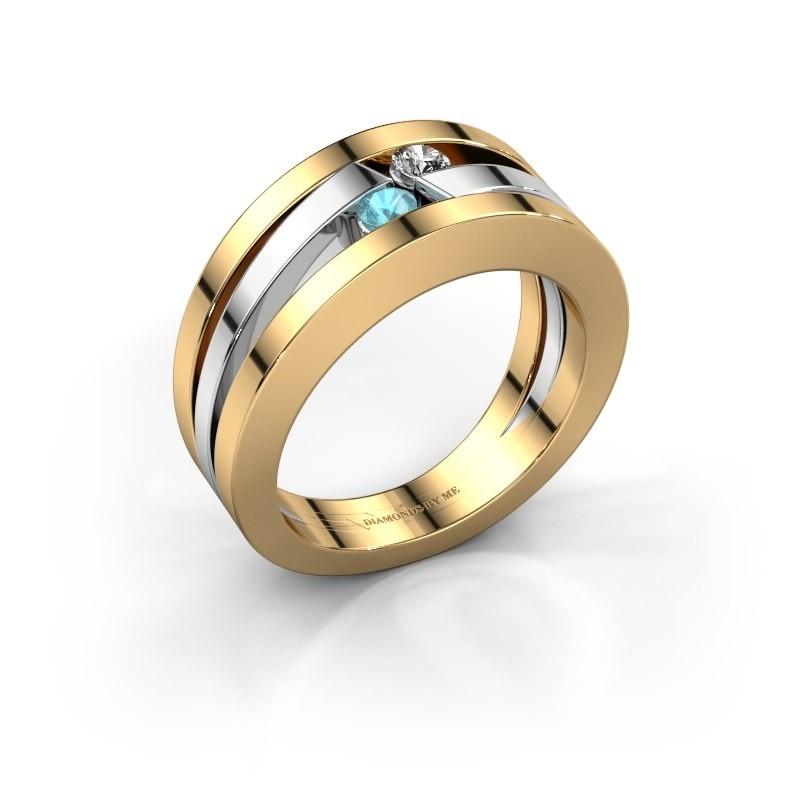 Ring Valerie 585 goud blauw topaas 2.7 mm