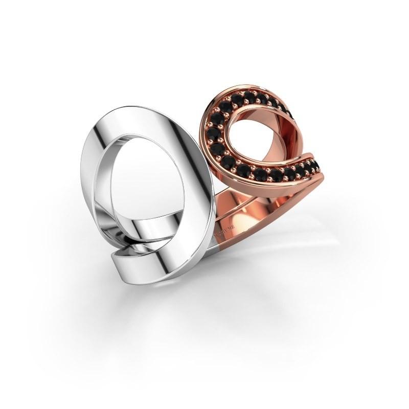 Ring Aniek 585 rosé goud zwarte diamant 0.252 crt