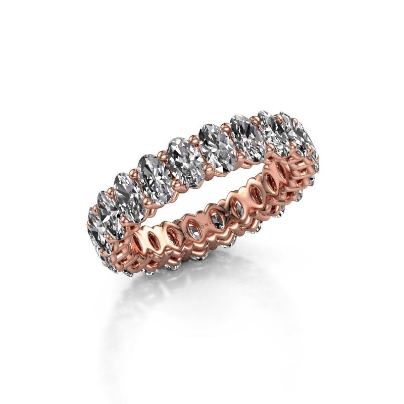 Aanschuifring Heddy OVL 3x5 375 rosé goud diamant 5.06 crt