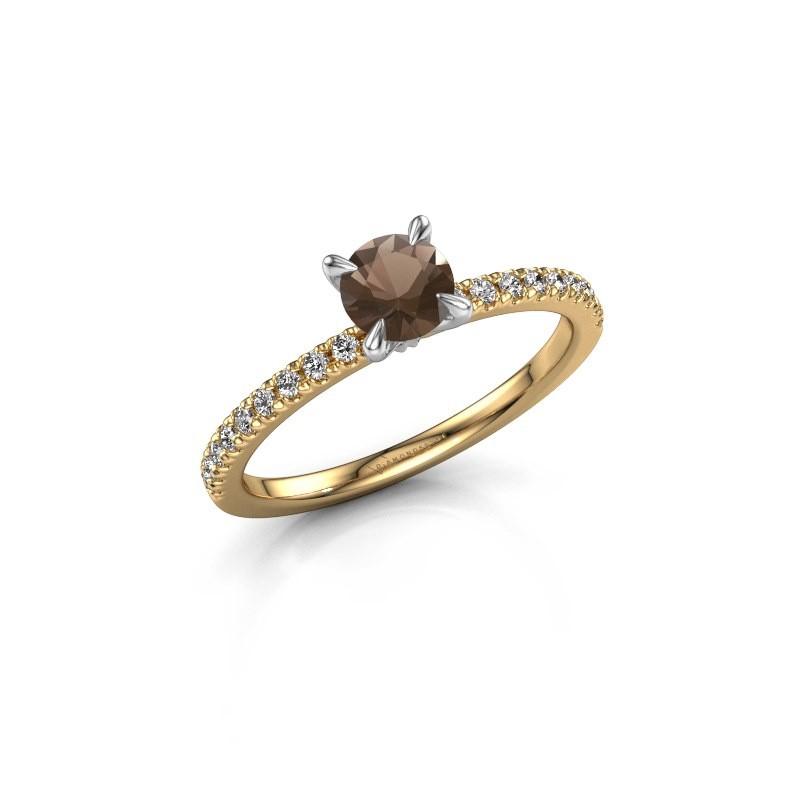 Verlovingsring Crystal rnd 2 585 goud rookkwarts 5 mm