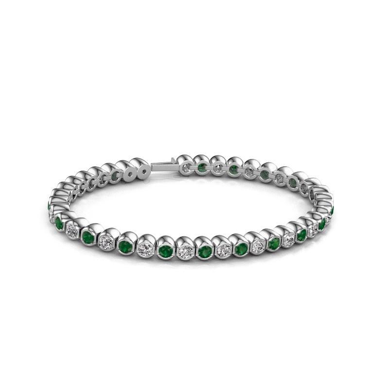 Tennisarmband Bianca 3.5 mm 585 witgoud smaragd 3.5 mm