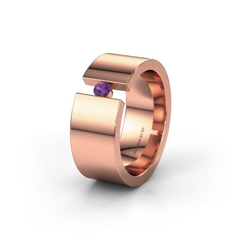 Trouwring WH0146L18BP 375 rosé goud amethist ±8x2 mm