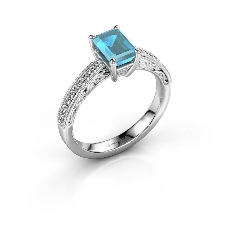 Verlovingsring Shonta EME 950 platina blauw topaas 7x5 mm