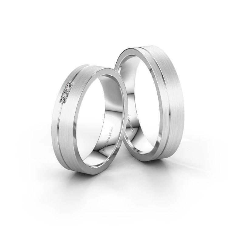 Huwelijksringen set WH0158LM14X ±4x1.5 mm 14 karaat witgoud diamant 0.02 crt