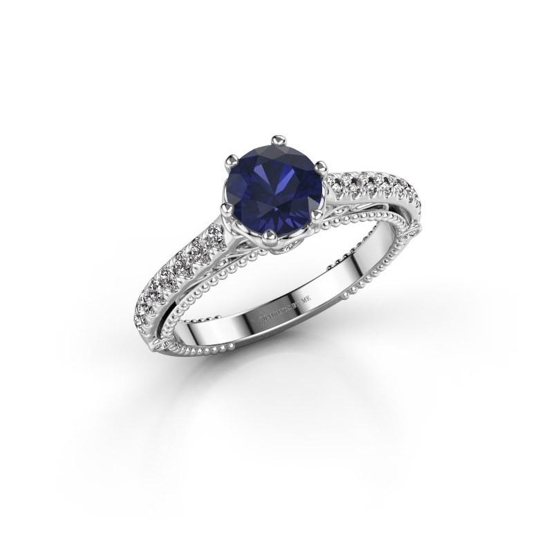 Engagement ring Venita 585 white gold sapphire 6.5 mm