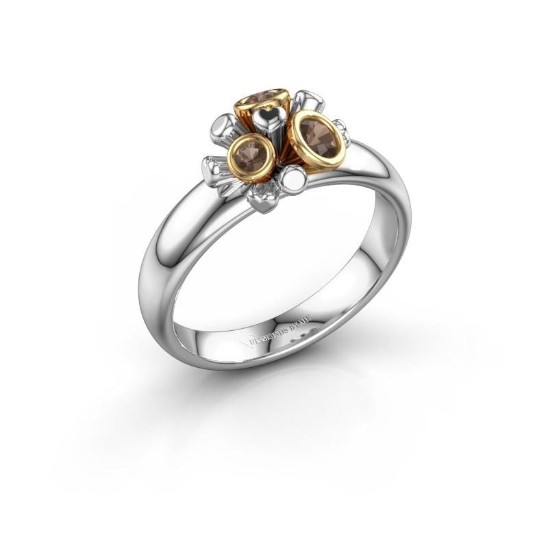 Ring Pameila 585 witgoud rookkwarts 2 mm