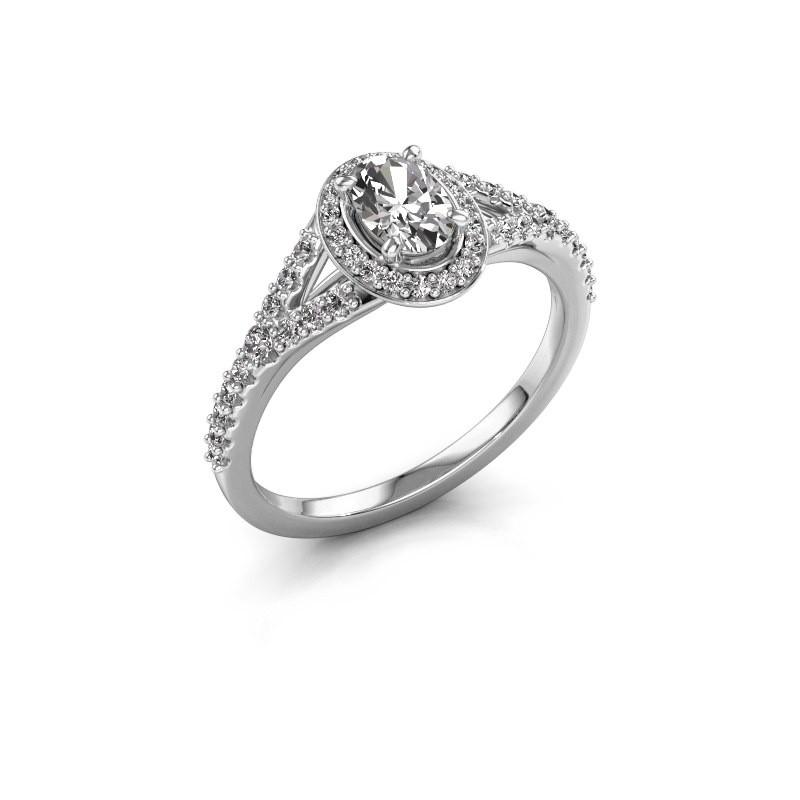 Belofte ring Pamela OVL 950 platina zirkonia 7x5 mm