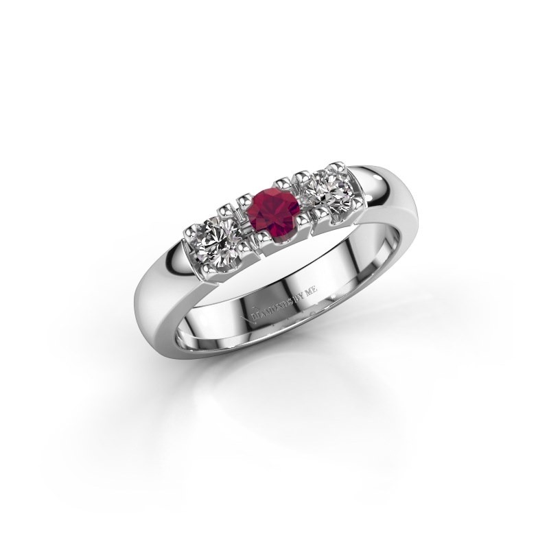 Engagement ring Rianne 3 585 white gold rhodolite 3.4 mm
