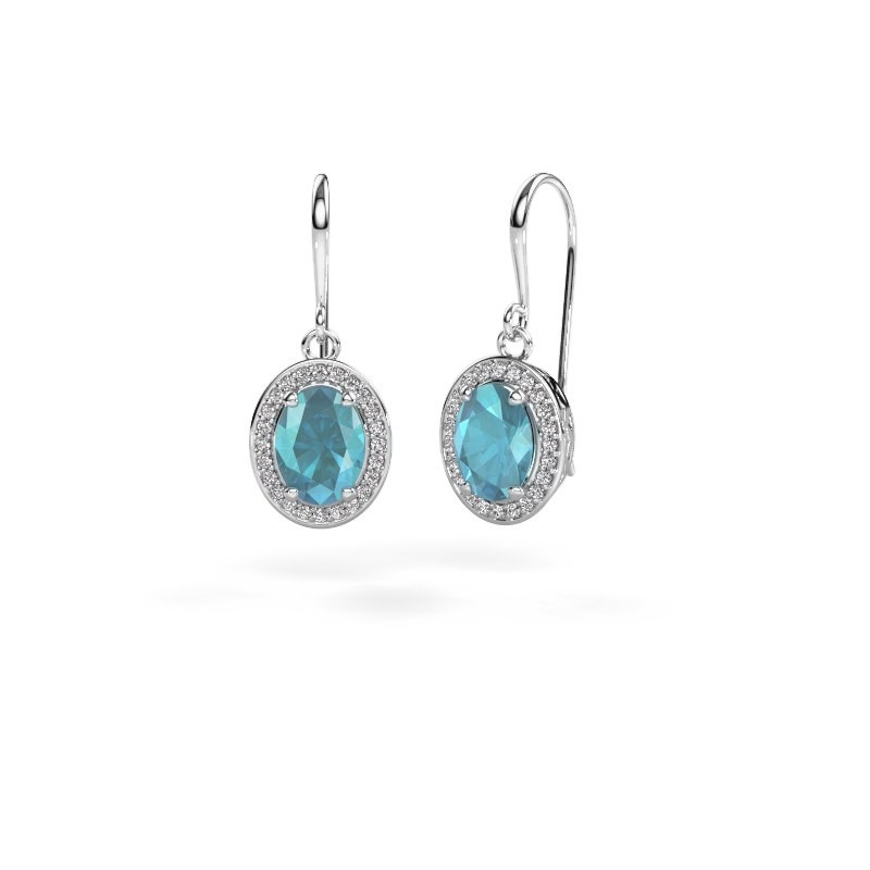 Drop earrings Latesha 950 platinum blue topaz 8x6 mm