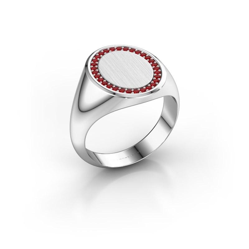Heren ring Floris Oval 4 375 witgoud robijn 1.2 mm