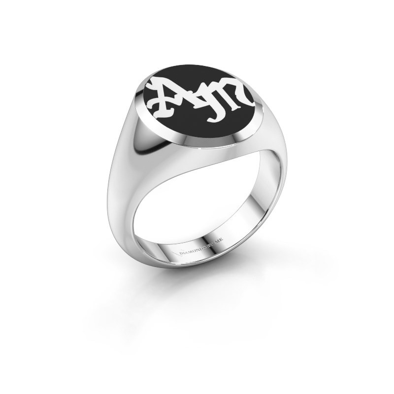 Monogram ring Brad Emaille 950 platina