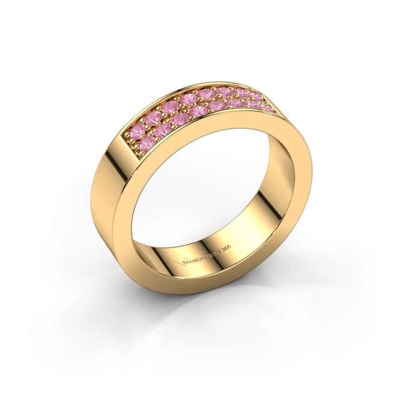 Aanschuifring Catharina 5 375 goud roze saffier 1.7 mm