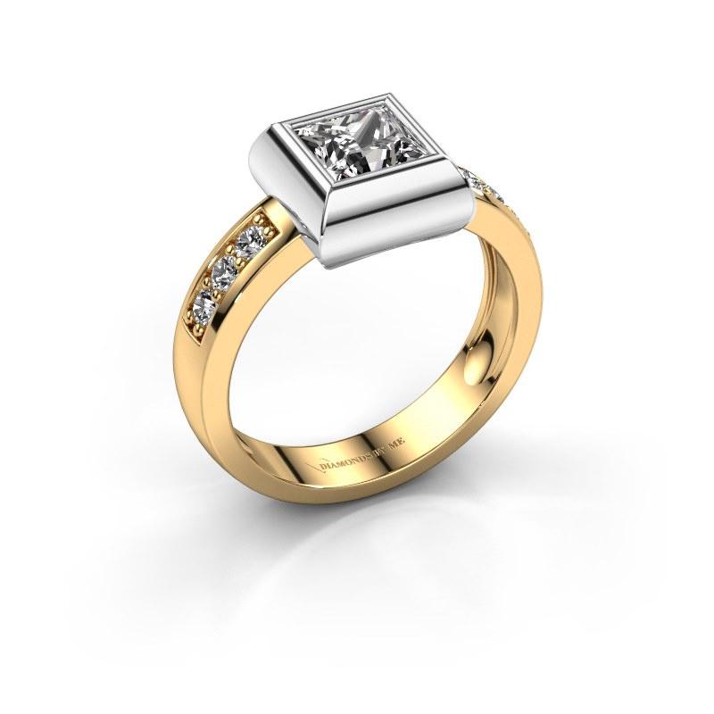 Ring Charlotte Square 585 gold zirconia 5 mm